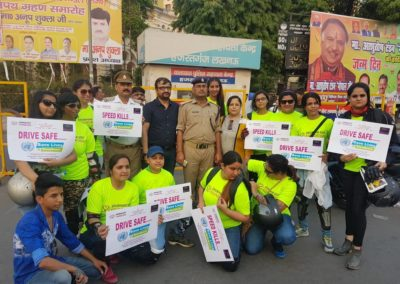 A group of women bikers and Shubham Soti Foundation spread awareness and distributed helmets among riders on Sunday (3)